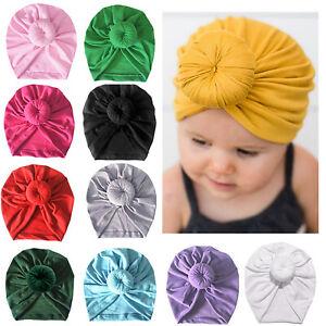 Kids Newborn Baby Infant Turban Knot Head Wrap Hat Beanie Headband India Hat Cap
