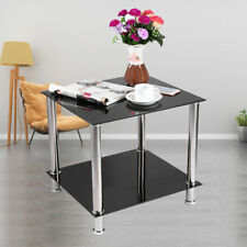 Black Glass With Chrome Square 2 Tier Storage Side Table  Home Furniture