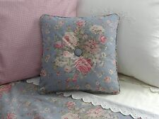 NEW Custom Ralph Lauren Shelter Island Blue Floral Throw Pillow Button