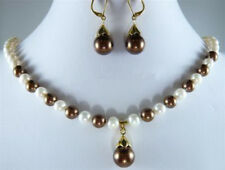 Real White Pearl & Chocolate Brown Shell Pearl Pendant Necklace Earrings Set