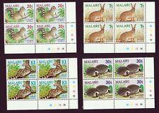 MALAWI 1984 Small Mammals Set SG703-706 Control Blocks Mint Hinged (MH).