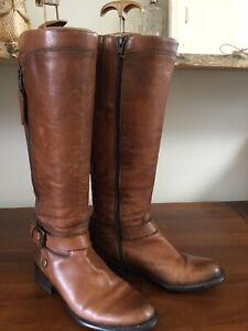 JONES BOOTMAKER 36/UK3 Brown 100% Leather Knee High Flat Boots