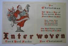 2 Page ORIG 1923 INTERWOVEN SOCK LEYENDECKER CHRISTMAS SANTA WITH BAG OF TOYS