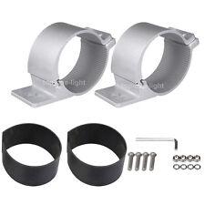 "2X 76mm 3"" inch Bull Bar Mount Bracket Tube Clamps for LED Light Bar 4x4 Silver"