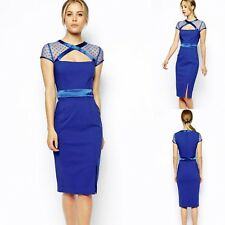 Sz 8 10 Blue Cap Sleeve Midi Sexy Formal Prom Cocktail Party Club Slim Fit Dress