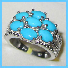 Sleeping Beauty Turquoise 2.9cts  Ring Platinum Sterling Silver 925 sz 6 or 9