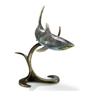 SPI Home Great White Shark Sculpture Solid Brass Sea Life Coastal Decor