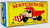 Matchbox Lesney No 16 SCAMMELL SNOW PLOUGH Empty Repro Box style E