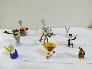Looney Tunes 9 Pc. Lot PVC Toy Figures/Cake Toppers - Bugs, Sylvester, Taz