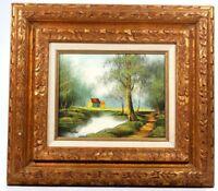 "Landscape Oil on 8"" x 10"" Canvas Signed M. Parkes with Gold Gilt Frame"