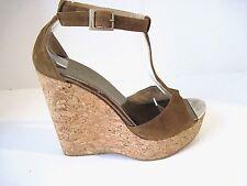 Jimmy Choo Pela Brown Suede Cork Espadrille Wedge Sandal Shoe Size 38