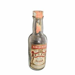 Vintage Mini Smirnoff Vodka Glass Bottle
