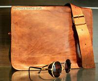 Men's Leather Shoulder Messenger Bag Vintage Briefcase Laptop Handmade Satchel