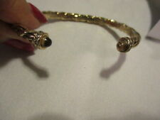AVON Twisted Rope Cuff Bracelet Chic Corded Goldtone with Faux Topaz Ends Ltd Ed