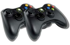 2 Original Microsoft Xbox 360 Wireless Controller Schwarz Gamepad Pad Joystick