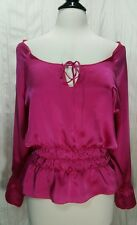 NWT Indah 100% Silk Blouse Lima Peasant Boho Hot Pink Ruffles Size Medium 8-10