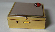 Gold & Silver Tone Metal Pill Box with Applied Lady Bug - VGC