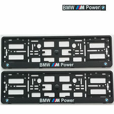 2x BMW M POWER BLACK NUMBER PLATE SURROUNDS HOLDER FRAME  PAIR M3 M5 M6 E60 Z4