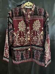 Boho Chic Tapestry Jacket Burgundy Sz XL Hippie Lotus Flowers