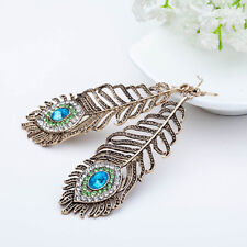 Vintage Women Rhinestone Peacock Eye Feather Dangle Hook Earrings Jewelry Cheap