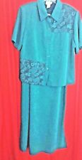 J. T, Collection 2 Piece Maxi Dress and Jacket Size 14WP Green Polyester with Me