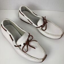 DEXTER White Hand Crafted Leather Driving Moccasins Loafer Boating size 7.5 M