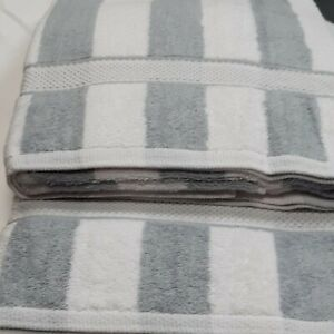 White and Grey Stripe Large Sunbed Beach Towel Pool Towel 100% Cotton 90x150cm