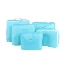 5pcs Packing Cubes Travel Luggage Organiser Suitcase Clothes Storage Pouch Bags Blue