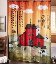 rustic primitive shower curtain country barn bathroom decor idea pig cow chicken