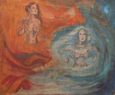 Vintage surrealist oil painting nudes