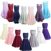 Flower Princess Chiffon Dress Girls Bridesmaid Pageant Formal Party Prom Gown