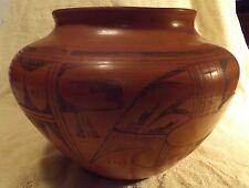 "Beautiful Vintage Native American Indian Decorative Pottery Black-on-Red 10"" dia"