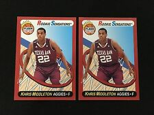 (2) KHRIS MIDDLETON TEXAS A&M COLLEGE ROOKIES FLEER 2012-13 RC BASKETBALL CARDS