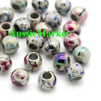 50 x beads acrylic plastic mixed colours 8mm crafts loose spacer large big hole