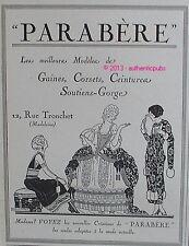 PUBLICITE PARABERE GAINES CORSETS CEINTURES SOUTIENS GORGE ART DECO DE 1926 AD