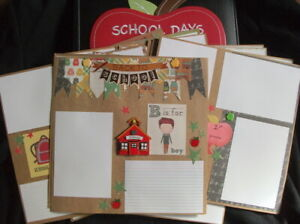 Back to school boy 12x12 premade scrapbook album