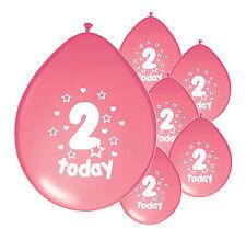 """20 x 2nd Anniversaire Fille Ballons"""" 2 aujourd'hui """"Deuxième Anniversaire Ballons Rose (PA)"""