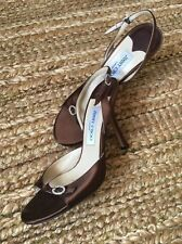 JIMMY CHOO Chocolate Brown Satin, Rhinestone Buckle, 3 inch Heel, Size 38