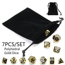 Set of 7 Zinc Alloy Gold Polyhedral Dice D4-D20 for Dungeons & Dragons Games+Bag