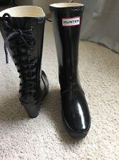 Hunter Patent Lace Up Rain Wedge Short Ankle Boots Black Sz 7 38