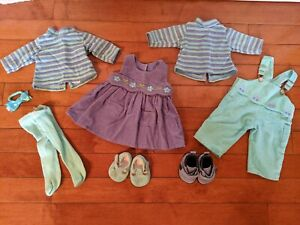 American Girl Retired Bitty Baby Boy & Girl Twins Play Outfits Dress Overalls