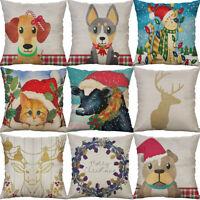 "18"" Christmas Dog Animal Cotton Linen Home Decorative Pillow Case Cushion Cover"