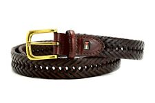 Tommy Hilfiger Original Mens Braided Leather Belt Brown Size 36