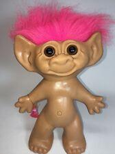 "VTG Troll Doll BIG 9"" Brown Eyes & Pink Hair + BONUS Ring uNeedADollCo"