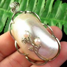 Carved Tibetan Silver Inlay Pearl White Shell Oval Pendant Bead D89551
