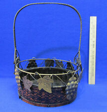 Woven Basket w/ Fixed Metal Handle & Grape Bunches Ivy Leaf Wood Base