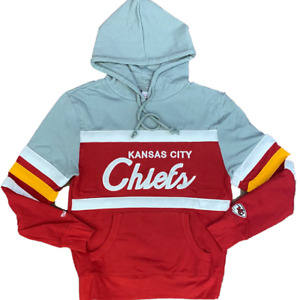 Kansas City Chiefs Mitchell & Ness COACHES THROWBACK Pullover Hoodie- Gray/Red