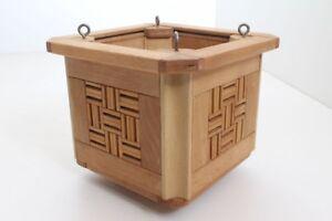 Flower Pot Planter Hanging Basket Wood Handmade Individual Piece Mosaic (33)