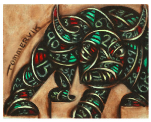 NY Wall Street Bull Stock Market Bull Stock Exchange Broker GiftTicker Tape Art