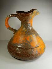 """Mid Century. Haeger Pottery Orange Peel Jug. Rustic Lava Glaze. 3182. 10"""""""